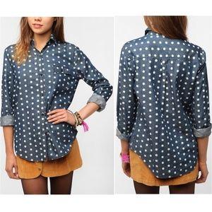 UO BDG Polka Dot Chambray Button Up Shirt